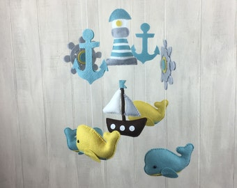 Nautical mobile - baby mobile - whale mobile - sailboat mobile - anchor - ship wheel mobile - baby crib mobile - lighthouse