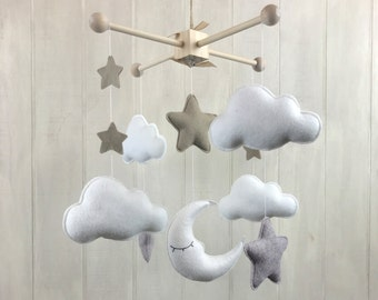 Baby mobile - moon star and cloud mobile - baby crib mobile - hanging mobile - star mobile - cloud mobile - moon mobile - neutral mobile