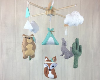 Baby mobile - tribal mobile - fox mobile - coyote mobile - bear mobile - tribal nursery - cactus mobile - cacti - saguaro cactus nursery