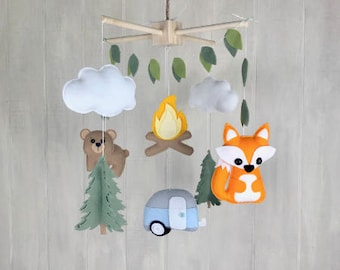 Baby mobile - camping mobile - camper - pine trees - fox mobile - bear mobile - fire mobile - woodland mobile - wilderness mobile