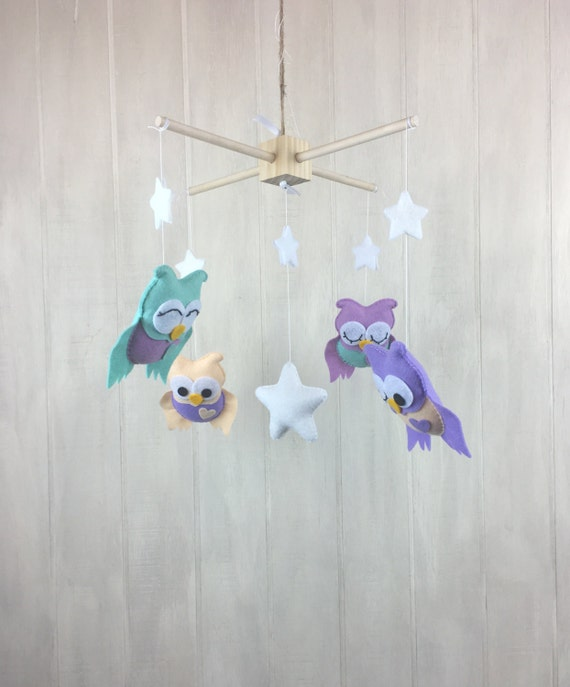 Baby mobile - owl mobile - owl nursery - star mobile - baby crib mobile -  nursery decor - custom colors available
