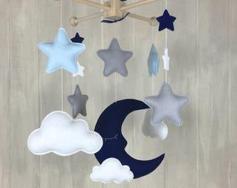 Baby mobile - sleeping moon mobile - sky mobile - moon and star - cloud mobile - nursery mobile - baby mobiles