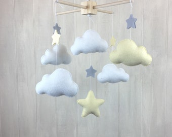 Cloud mobile - star mobile - baby mobile - elephant baby mobile - baby mobiles - nursery mobile - grey - yellow - neutral