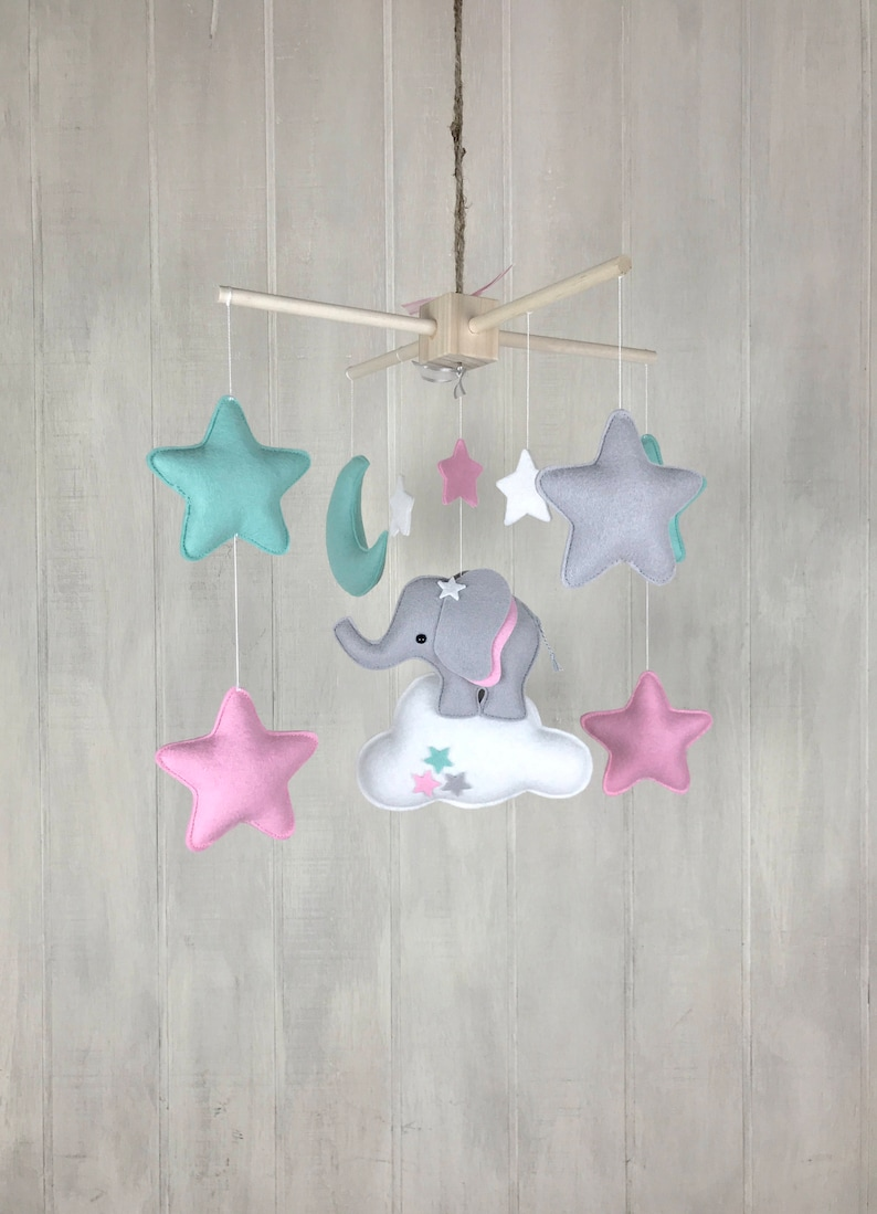 Baby mobile - moon mobile - elephang mobile - star mobile - clouds and star  - pink and mint - nursery baby mobiles