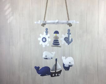 Baby mobile - nautical mobile - whale mobile - anchor, ship wheel, lighthouse and ship - crib mobile - ocean mobile - nursery
