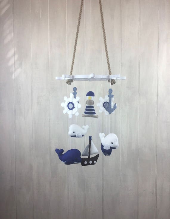 Baby Mobile Nautical Mobile Whale Mobile Anchor Ship Etsy