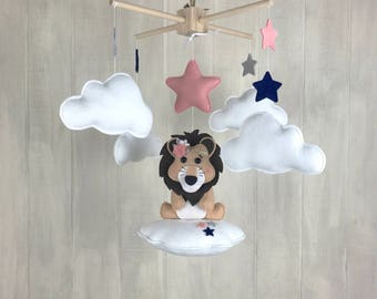 Baby mobile - lion mobile - baby girl mobile - safari mobile - nursery decor - star mobile - lion nursery