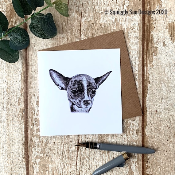 Chihuahua Dog Blank Greetings Card Pen and Ink Drawing