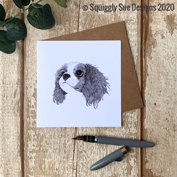King Charles Cavalier Spaniel Dog Blank Greetings Card Pen and Ink Drawing