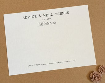 10 Advice & Well Wish Cards for Mr and Mrs / Bride to Be