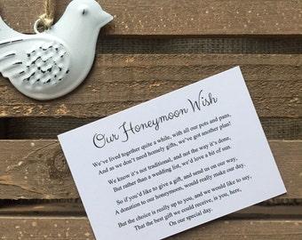 10 Honeymoon Wish Cards | Wedding Invitation Insert