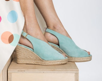"Mint Wedge Espdrilles ""tulip"" suede leather"