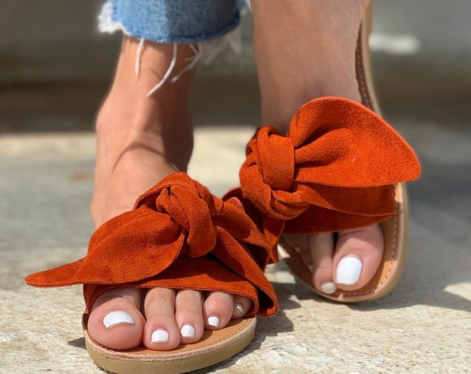 Featured listing image: Burnt Orange Bow Leather Greek Sandals