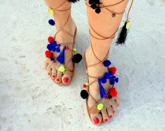boho pom pom sandals  royal blue/ red/ black yellow/handmade in greece/ gold details /lace up flat sandals/ woman sandals