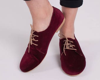 oxford wine red velvet shoes
