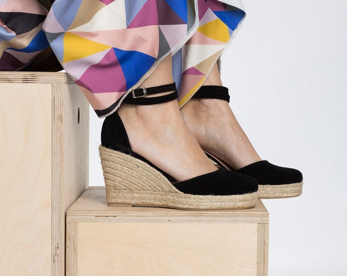 Featured listing image: Aria Black Espadrilles Suede  Leather Espadrille Wedge