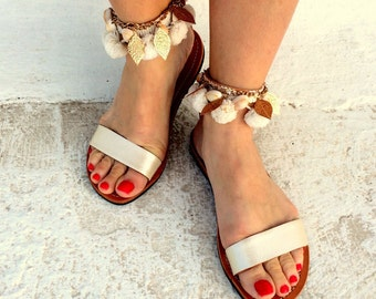 wedding sandals /white barefoot greek sandals/handmade with white snake print leather  pom pom and gold leaves
