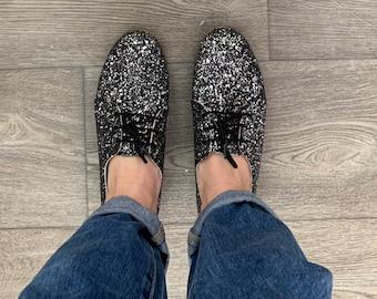 Sparkle Black Oxford Shoes , Bling Shoes, Black Glitter Swing Shoes . Handmade