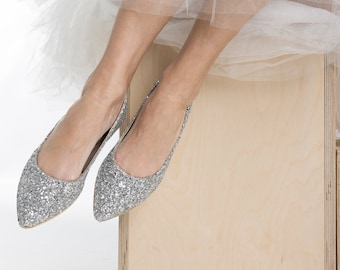 Silver Glitter Wedding Flats , Wedding Shoes Ballet Flats, Bridesmaid ,Bridal Shoes ,Bridal Flats ,Silver Shimmer Pointed Shoes