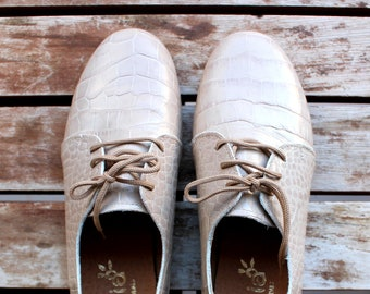 Beige Snake Print  Oxford Woman Shoes