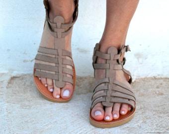 Beige Gladietor Flat