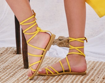 """yellow leather strap sandals ,lace up  , Handmade Greek sandals by aelia """"corina style"""""""