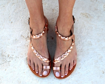 gold pink sandals Greek handmade flat sandals strap sandals wedding sandals gladiator sandals handmade braided toe ring sandals