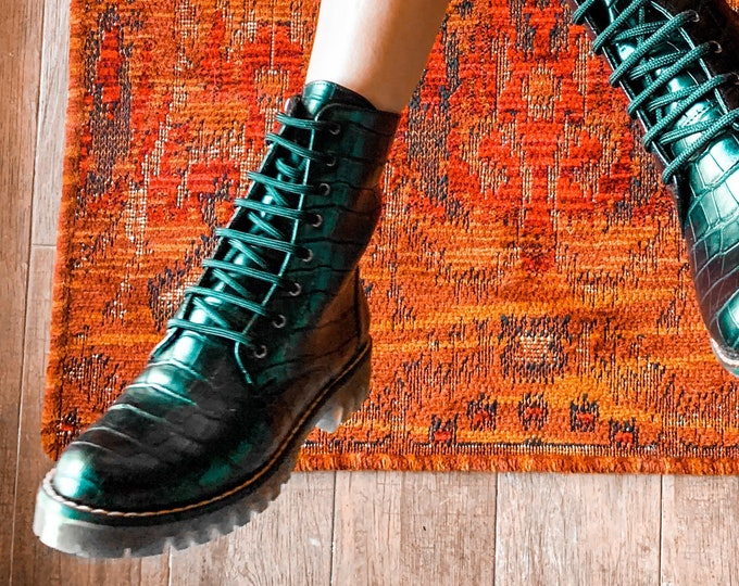 Featured listing image: Women Army Boots , black Vegan Leather with Print ,Handmade boots , Custom made boots Croco print