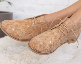 Women Shoes Vegan Handmade Boots By Cork with Gold Flakes