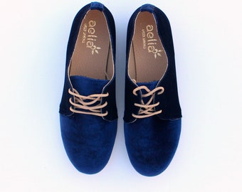 woman oxford velvet shoes
