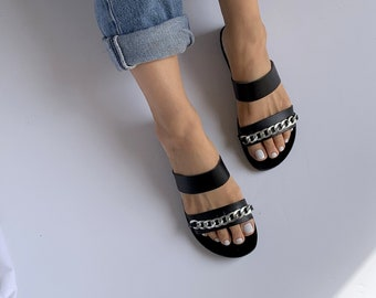 Two straps Women Sandals with silver Chain