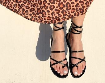 Black Ankle Wrap Up Leather Women Sandals. Boho Gladietor Sandals ,Bohemian Chic Sandals . Black leather