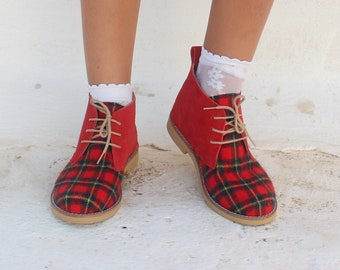 Christmas Shoes For Girls  and Woman Handmade Leather Ankle Boots Limited Edition Fast Shipping