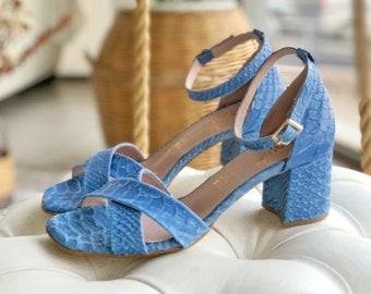 """Sky blue leather sandals , Light Blue Block heel sandals 4,5 cm , Woman Ankle strap Sandals ,Bridesmaids sandals """"Flora"""""""