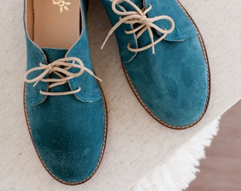 Blue Green Leather Oxgord Women Shoes . Handmade Suede Tie  Flat Shoes