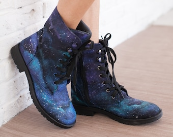 Hand Painted Ankle Boots , Vegan Shoes