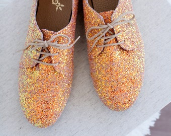 Sparkle Women Oxford Shoes , Handmade Glitter Oxford ties shoes
