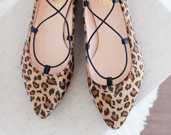 Pointed Toe Flats in Leopard Print Handmade to Order Leather Or Vegan