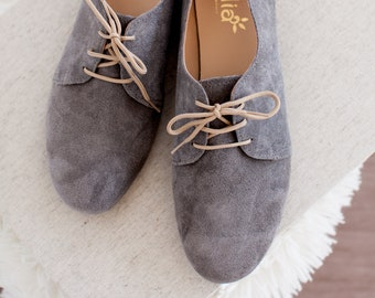 Gray Suede Womens Grey Oxford Shoes Toe Flats Handmade in Greece