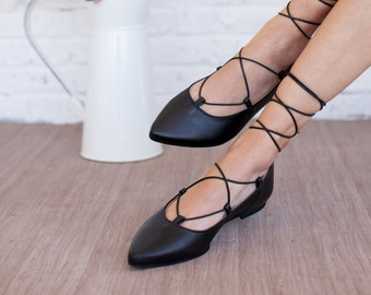 Lace up flat shoes ,handmade,leather shoes,black,made in Greece,genuine leather,woman shoes