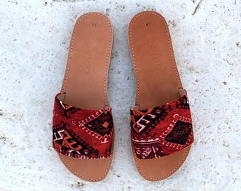 aelia greek sandals slippers with boho fabric
