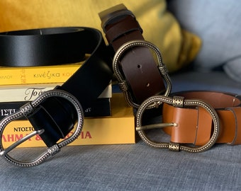 Thita leather belt with jewel buckle available in 3 colors black brown and camel