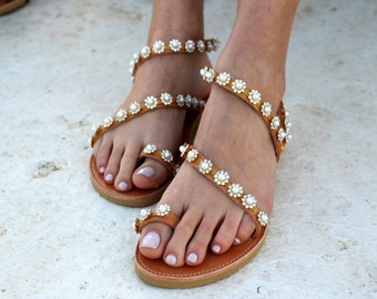 aelia greek sandals perla and strass strappy sandals gladietor wedding sandals  white pearl  daisy strass beach wedding sandals