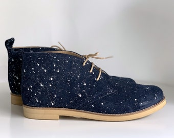 Dark Blue Handmade Leather Woman  Ankle Boots