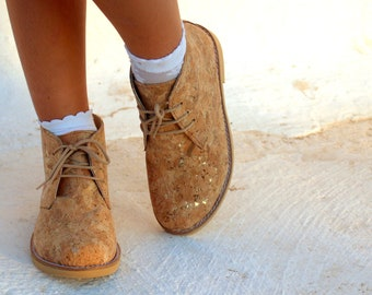 Kids Vegan Shoes Ankle Boots Made by Cork With Gold Flakes