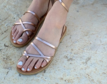 Pink Gold Ankle Wrap Up Leather Women Sandals. Boho Gladietor Sandals ,Bohemian Chic Sandals . bronze leather