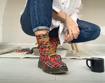 Red Plaid Women's Boots , Army ankle combat red and black with yellow details made to order. limited edition