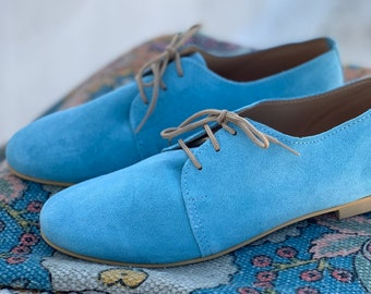 Light Blue oxford Shoes. Suede Leather Flats. Lady office Oxford style flat heel shoes for Women