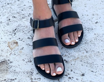 Black Women Leather  Casual sandals. RiRi Sandals
