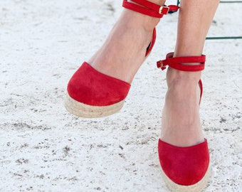 Aria Espadrilles wedge Red suede leather